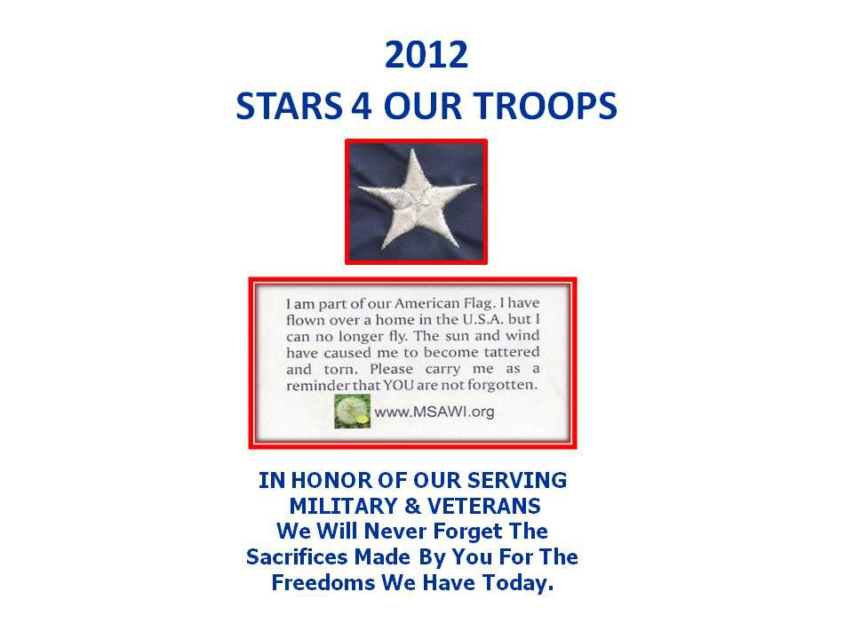 TODAY IS TUESDAY---IT IS BOWE BERGDAHL TUESDAY... MSAWI.ORG WANTS BOWE BERGDAHL TO RECEIVE THIS STAR 4 OUR TROOPS FROM A FELLOW ACTIVE MILITARY MEMBER AND/OR VETERAN.