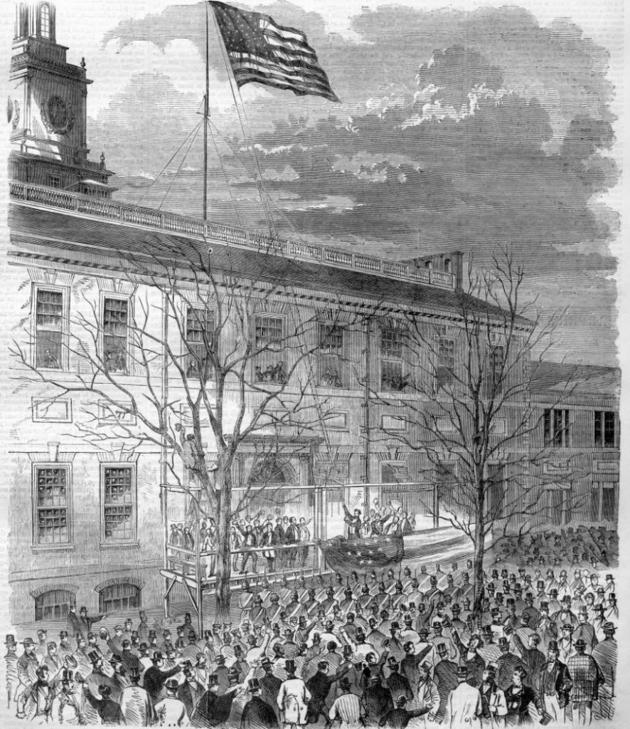 A sketch of the flag-raising from Harper's Weekly