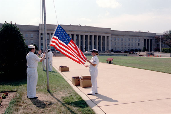 Raising a flag at the Pentagon