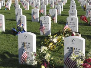 Flags mark gravesites