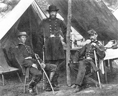 Albert myer invents communication by flags signal corpsgettysburg myers standing with signal corps officers during the civil war publicscrutiny Image collections