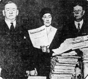 Elsie Jorss Reilley with congressmen, sheet music and thousands of petitions