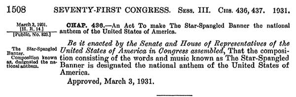 National Anthem act