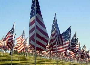 Some of the thousands of flags that mark 911