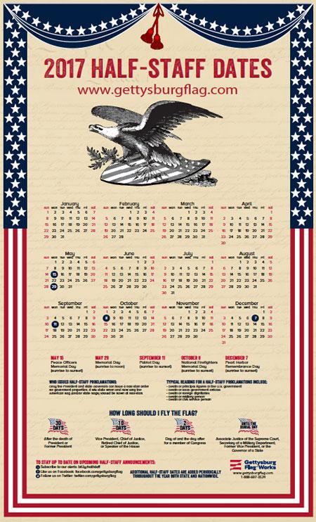 2017 Half Staff Calendar