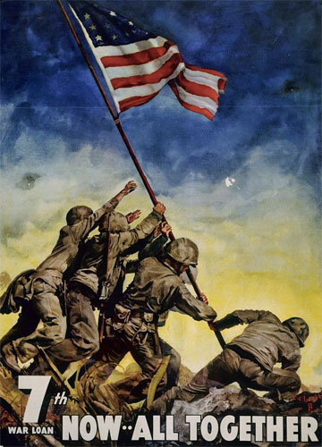 The flag-raising on Iwo Jima promoted a bond drive. (Library of Congress)
