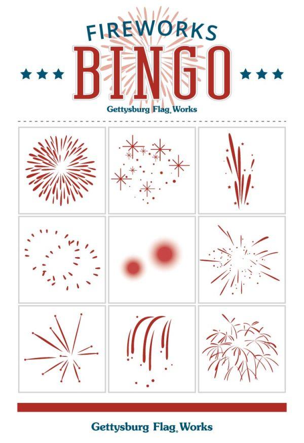 Fireworks Bingo Cards