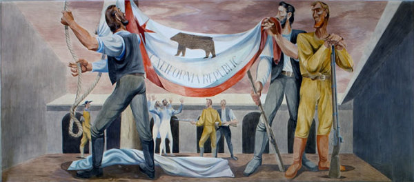 A mural depicts the first raising of the bear flag