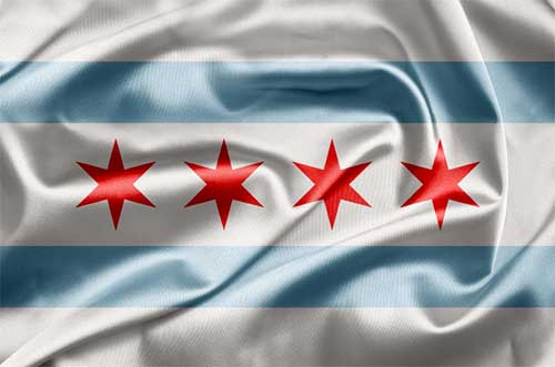 Chicago's city flag. (Chicago Public Library)