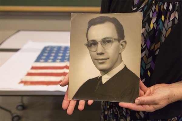 Sgt. Hall's photo at the ceremony. (U.S. Holocaust Memorial Museum)
