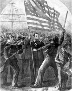 Lincoln grasps an American flag while surrounded by troops in this fanciful image