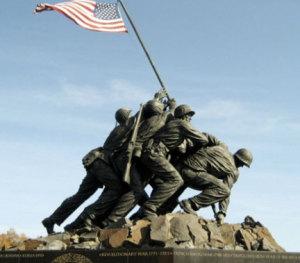Statue of raising of American flag on Iwo Jima