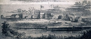 A drawing of Lawrence, Kansas, in 1856 shows a flag