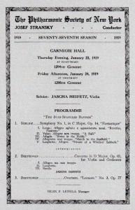 1919 program for Heifetz's debut