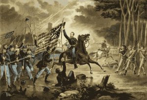 An officer rallies his flag-following troops