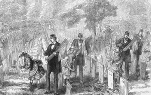 Families place memorials on graves in Philadelphia on Decoration Day 1876. (Library of Congress)