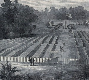 In 1865, Clara Barton raises an American flag on the grounds of the Andersonville prison camp in Georgia, where 14,000 Union prisoners were buried. (Library of Congress)