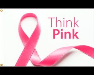think pink ribbon flag