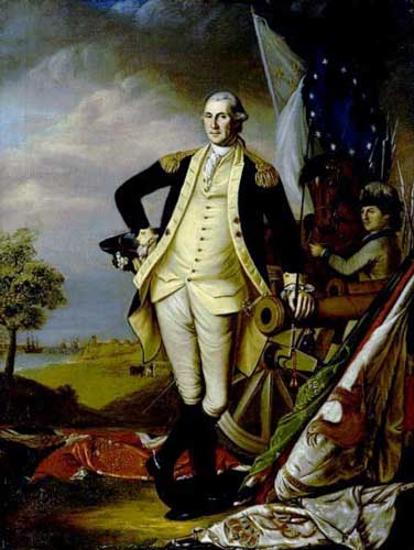 A portrait by James Peale of Washington at Yorktown shows British and Hessian flags at his feet.