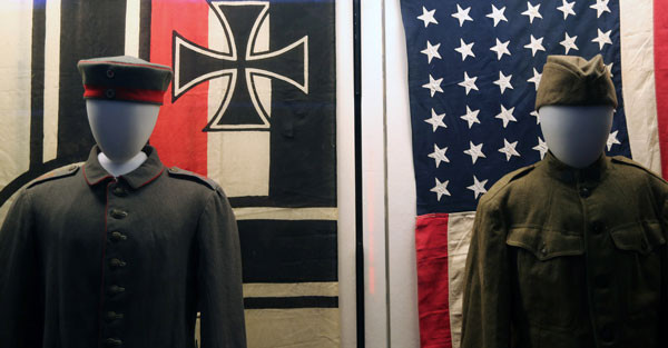 Two flags one soldier