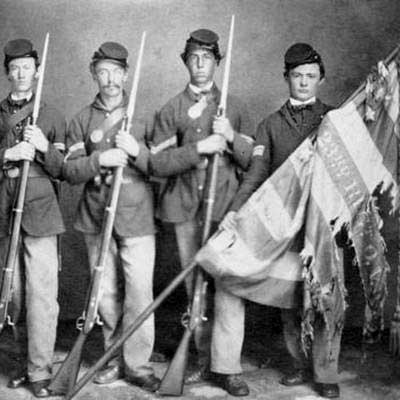 Color Guard of Hayes' unit holds what might have been a gift from his wife. (ohiocivilwar150.org)