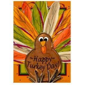 Happy Turkey Day Thanksgiving House Banner from Gettysburg Flag Works