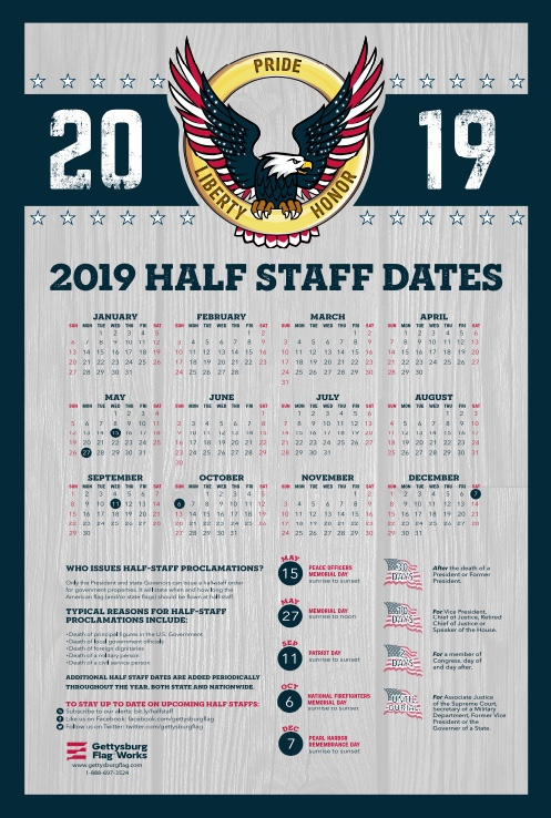 2019 Half Staff Calendar from Gettysburg Flag Works