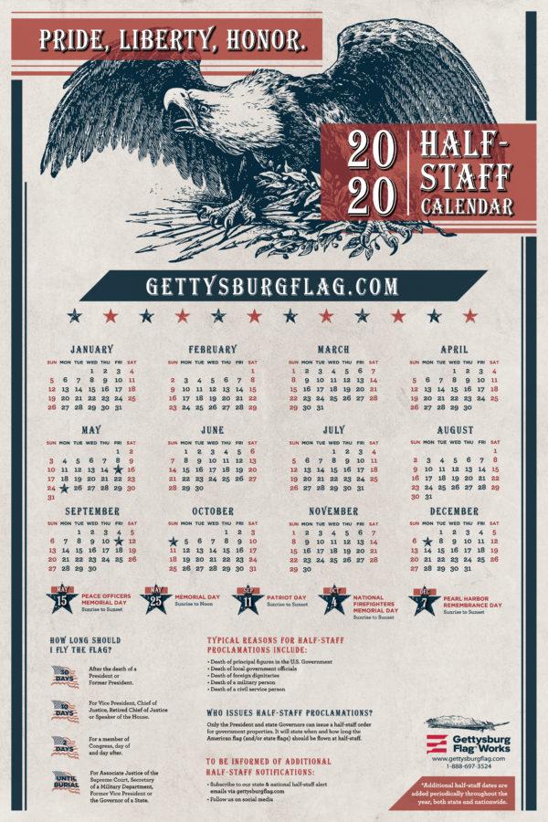 2020 Half Staff Calendar