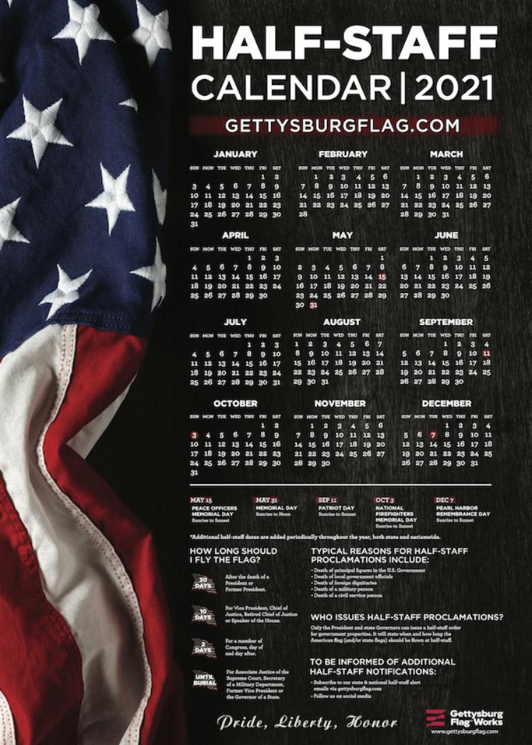 2021 Half Staff Calendar from Gettysburg Flag Works