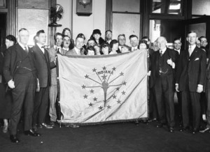 The Indiana flag was presented to the U.S. Postmaster in 1924. (Library of Congress)