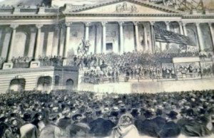 A print from Frank Leslie's Illustrated Newspaper of the first inauguration of Lincoln. (National Park Service)