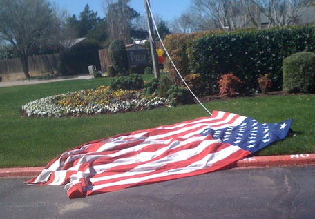 American flag on the ground