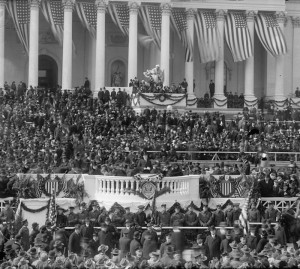Backed by many American flags, President Wilson speaks at his 1917 inauguration. (Library of Congress)