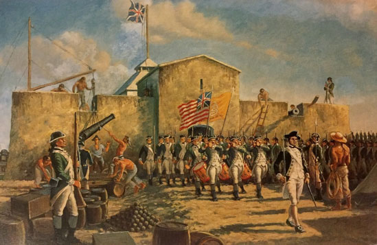 Continental Marines at New Providence, carrying Grand Union and Gadsden Flags