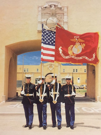 Marine Color Guard with National Ensign and MCRD San Diego Organization Color