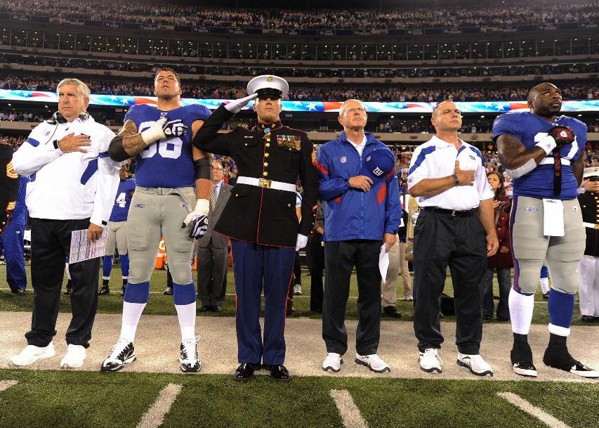 Sergeant Dakota Meyer, USMC, at NY Giants game.