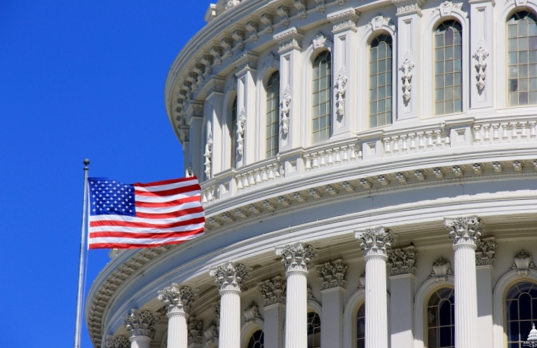 An American flag flies at the Capitol in Washington. (Architect of the Capitol)