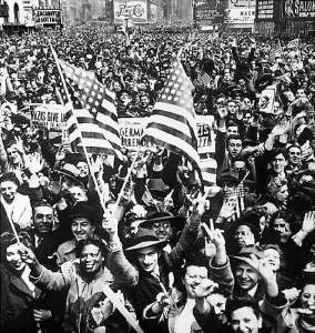 Americans in New York City jam Times Square on V-E Day.