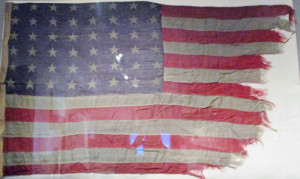 An ensign flown by New Orleans during its Pacific battle
