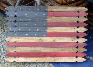 A homemade wooden flag. (James Breig photo)