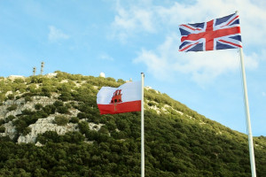 Rock Gibraltar England Flags