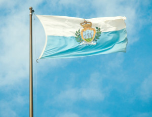 San Marino's flag with coat of arms.