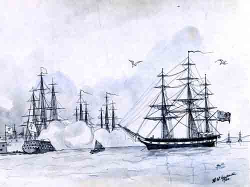 USS Ranger receives the first recognition of the American flag by a foreign government on February 14, 1778; Quiberon Bay, France.