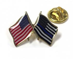 Thin Blue Line & American Flag Lapel Pin