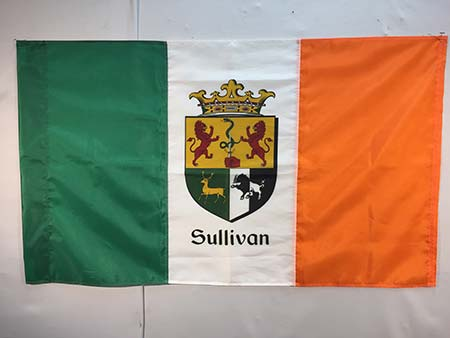 irish custom flag featuring sullivan family crest