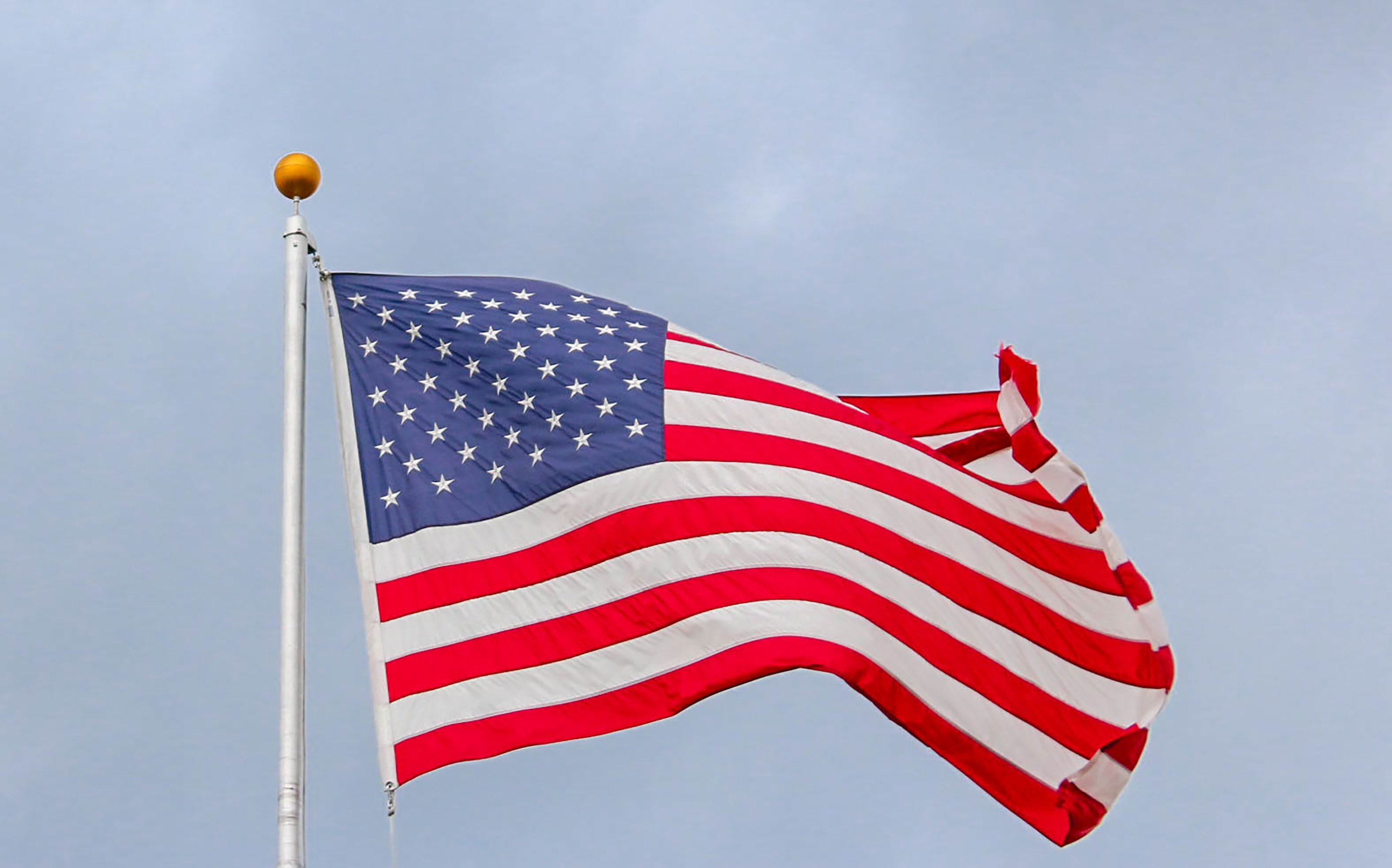 American Flag with Gold Ball Finial