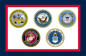 U.S. Armed Forces Flag with 5 Branches of the Military