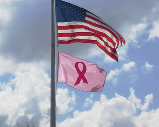 Pink Ribbon Flag mounted below the American Flag on a flagpole
