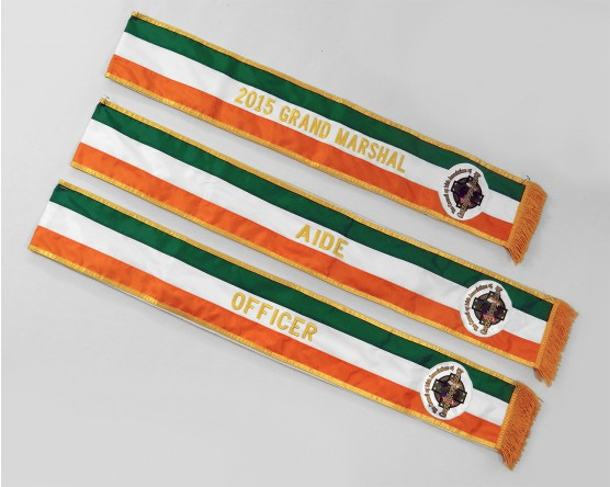 Parade sashes with embroidered lettering