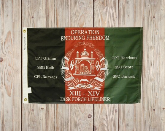 Embroidered name on commemorative flag